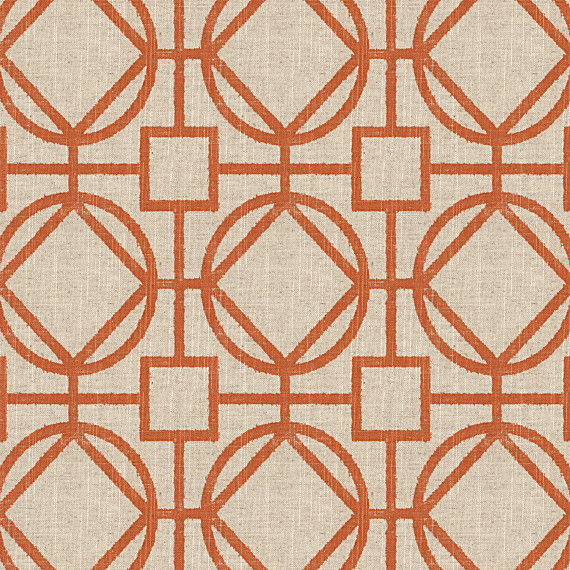 Orange & Natural Modern Trellis Fabric modern-upholstery-fabric
