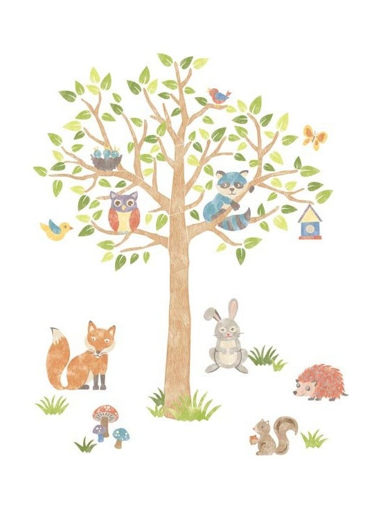 """Brewster Home Fashions - Woodlands Super Wall Art Kit Decal - The forest is a magical place. This Woodland Tree is a happy habitat for all kinds of animal friends. The branches of this artful tree host a blue raccoon and jolly owl along with birds and butterflies. A charming fox rabbit porcupine and squirrel frolic playfully nearby nestled amongst colorful mushrooms and grass on the forest floor. Enchant a whole room with this precious wall art kit which is totally removable and reusable and will not damage your walls.  The Woodland Tree kit comes on two 24"""" x 36"""" sheets and contains 87 total pieces."""