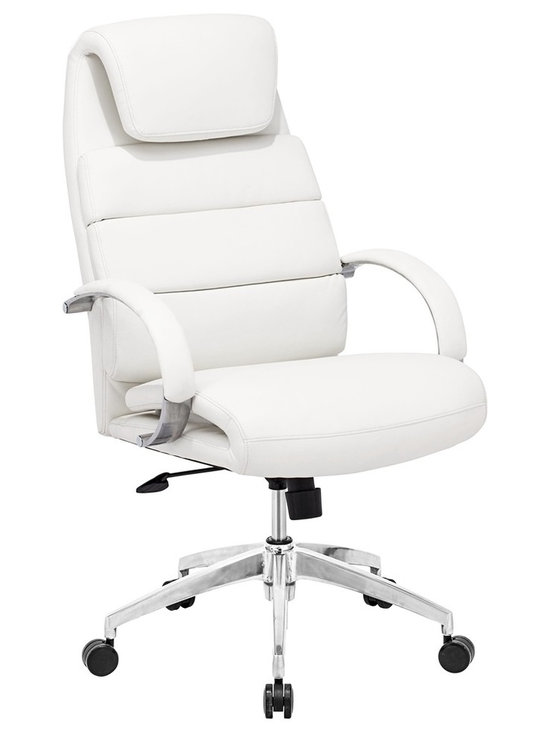 "Zuo - Zuo Lider Comfort White Office Chair - White faux leather office chair. This chair has a leatherette wrapped seat and back cushions with chrome solid steel arms with leatherette pads. There is a height and tilt adjustment with a chrome steel rolling base. Chrome finish solid steel arms with leatherette pads. Height and tilt adjustment. Crome finish steel rolling base. A chic addition to your home from Zuo Modern. 27 1/2"" wide. 27 1/2"" deep. Height adjusts from 44 1/2"" - 47 3/4"". Seat is 18"" square. Seat height adjusts from 20"" - 23 3/4"". Arm height adjusts from 27"" - 30"". Some assembly required.  White faux leather office chair.  This chair has a leatherette wrapped seat and back cushions with chrome solid steel arms with leatherette pads. There is a height and tilt adjustment with a chrome steel rolling base.  Chrome finish solid steel arms with leatherette pads.  Height and tilt adjustment.  Crome finish steel rolling base.  A chic addition to your home from Zuo Modern.  27 1/2"" wide.  27 1/2"" deep.  Height adjusts from 44 1/2"" - 47 3/4"".  Seat is 18"" square.  Seat height adjusts from 20"" - 23 3/4"".  Arm height adjusts from 27"" - 30"".  Some assembly required."