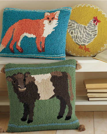 Animal Portrait Hooked Wool Pillow Cover, Fox - Contemporary - Decorative Pillows - by Garnet Hill