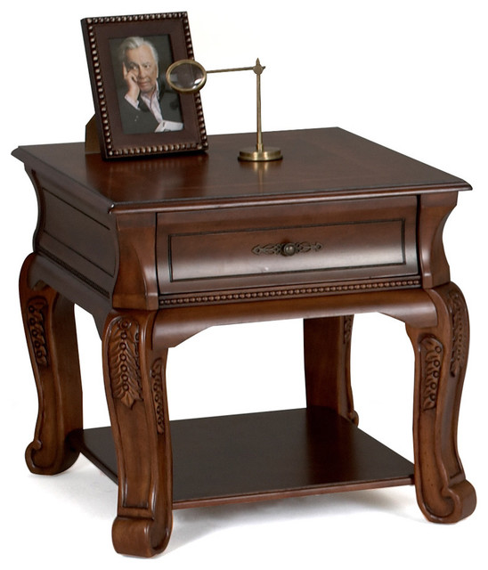 'Whitson' Rich Walnut English End Table contemporary-bar-tables