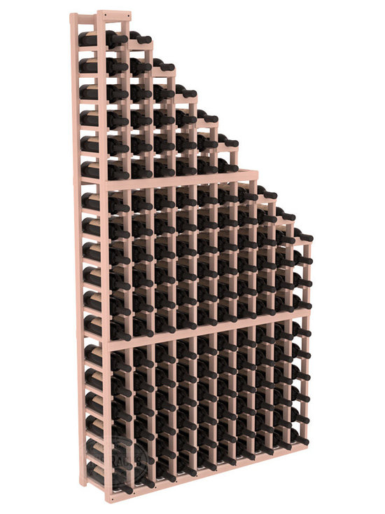 Wine Cellar Waterfall Display Kit in Redwood with White Wash Stain - A beautiful cascading waterfall of wine bottle displays. Create a spectacle of 9 of your favorite vintages. Designed within our modular specifications and to Wine Racks America's superior product standards, you'll be satisfied. We guarantee it.