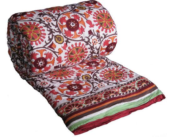 Uzbek lime quilt - Super soft light-weight reversible quilt from Rasany