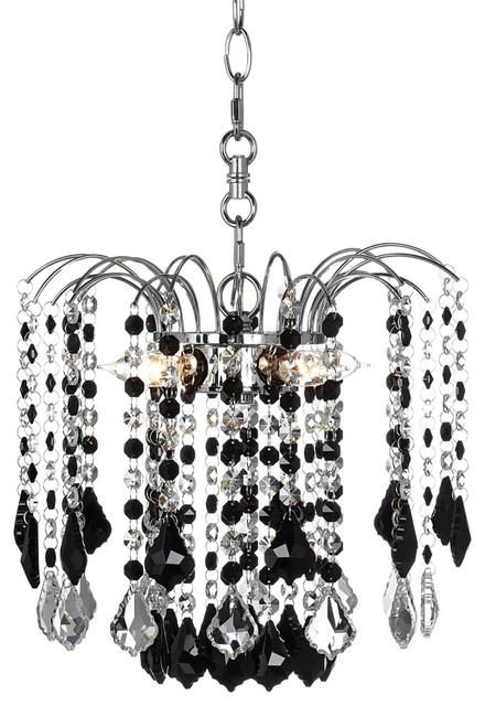 "Crystal Nicolli Black Crystal 12"" Wide 4-Light Mini Chandelier contemporary-chandeliers"