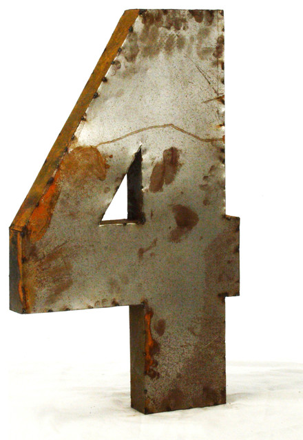 36 tall industrial rustic metal large number 4 for Number 4 decorations