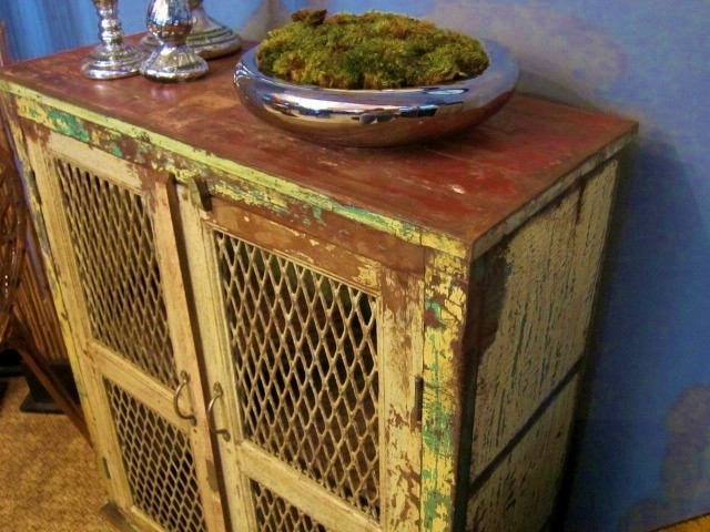 Yellow and Green Distressed Cabinet w/ mesh eclectic-storage-cabinets