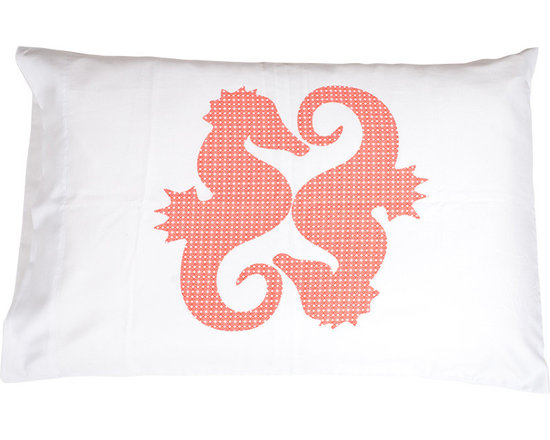 Jules Johnson Interiors Red Geometric Seahorse Pillowcases, Set of 2