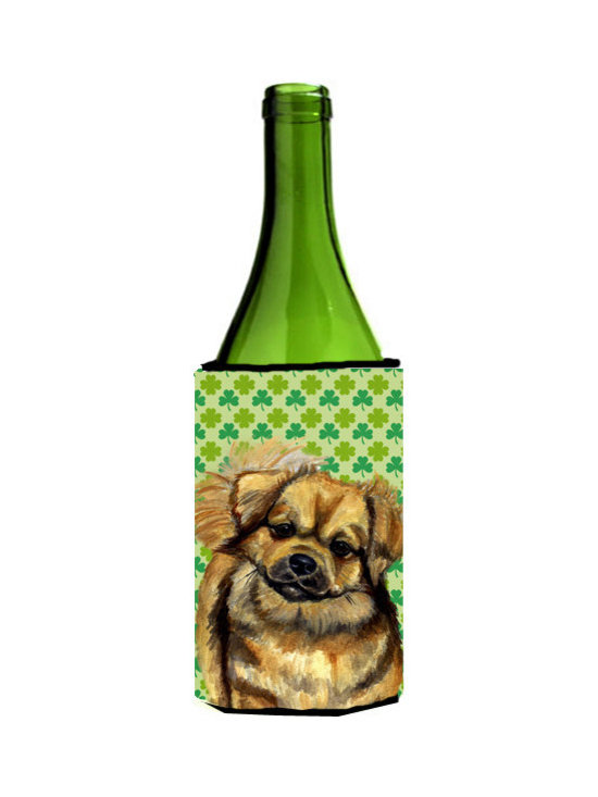 Caroline's Treasures - Tibetan Spaniel St. Patrick's Day Shamrock Portrait Wine Bottle Koozie Hugger - Tibetan Spaniel St. Patrick's Day Shamrock Portrait Wine Bottle Koozie Hugger Fits 750 ml. wine or other beverage bottles. Fits 24 oz. cans or pint bottles. Great collapsible koozie for large cans of beer, Energy Drinks or large Iced Tea beverages. Great to keep track of your beverage and add a bit of flair to a gathering. Wash the hugger in your washing machine. Design will not come off.