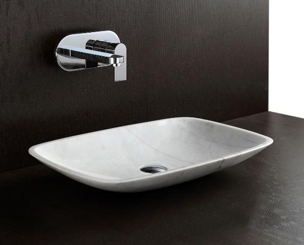 Shaan natural white stone basin modern bathroom for Natural stone bathroom sinks
