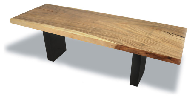 Tamburil Single Slab Dining Table - Stained Wood Base contemporary dining tables