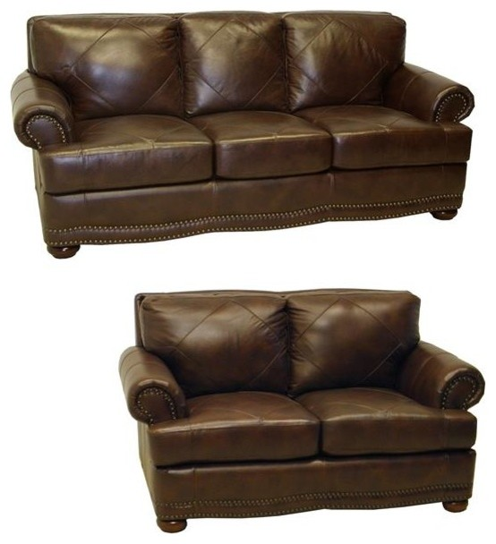 Shoreline chocolate italian leather sofa and loveseat contemporary loveseats by Chocolate loveseat