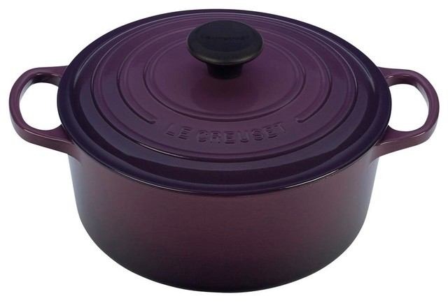 le creuset signature enameled cast iron round french oven traditional dutch ovens and. Black Bedroom Furniture Sets. Home Design Ideas