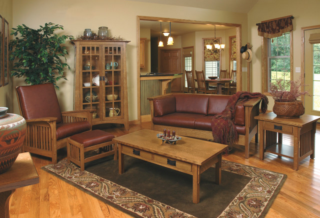 Mission style white oak living room furniture craftsman living room cleveland by for Craftsman style living room furniture