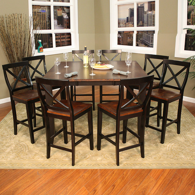 piece butterfly leaf counter height dining set contemporary dining