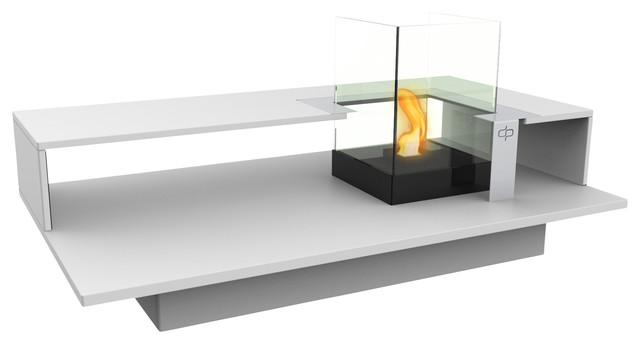 Level indoor bio ethanol coffee table fireburner in white - Table basse bio ethanol ...