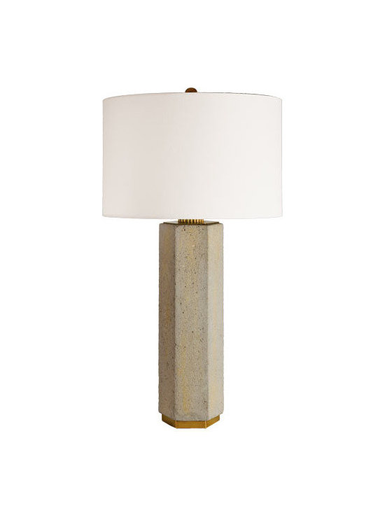 Rejuvenation: Entry - Our Concrete and Brass Hexagon Table Lamp features a cast concrete and brass hexagon base, a brass finial and socket, and a white rolled-edge shade.