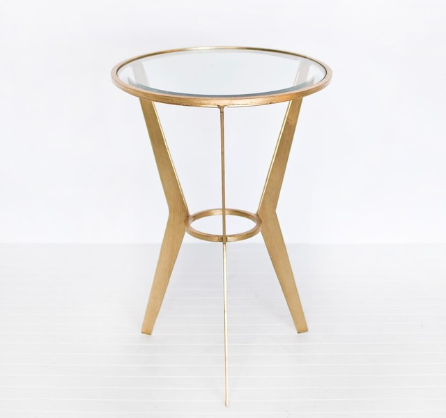 Worlds Away Wilma Retro Round Gold Side Table - Traditional - Side Tables And End Tables - by ...