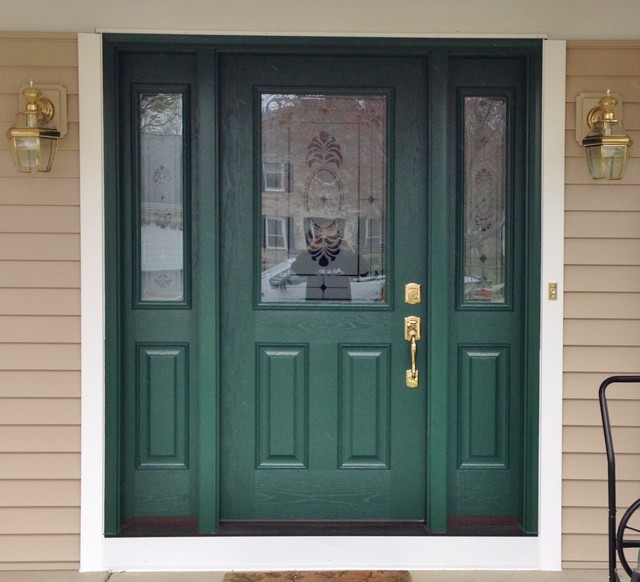 Green front door with frosted glass sidelites for Front door with window