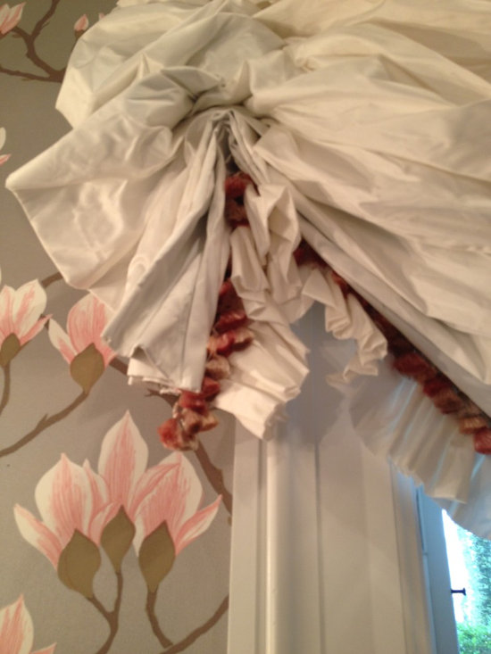 Custom  Window Treatments - Formal cloud shade in Duralee white silk taffeta featuring ruffled hem and Scalamandre coral pink, silk tassle trim compliments the Magnolia pattern Cole & Sons wallpaper, available through Lee Jofa in this elegant, traditional, formal powder room.