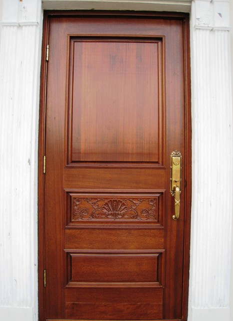 Single mahogany carved entry door tropical front doors for Single main door designs for home