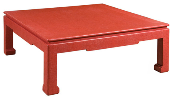 Asian style coffee table with chow legs gfw 21 red for Red modern coffee table