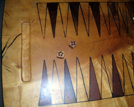 """Chances Tiger Maple Backgammon Table - 2"""" thick Tiger Maple Slab with hand cut 3/8 inch Walnut Inlays, Chestnut Legs, Swiveling Aromatic Cedar  Piece Pocket, Sliced Red and White Cedar branch Backgammon Discs,"""
