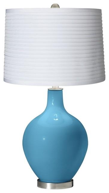 Contemporary Jamaica Bay White Pleated Shade Ovo Table Lamp contemporary-table-lamps