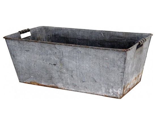 Industrial Zinc Basket - Great utilitarian basket. Substancial in size, two wooden handles and the perfect vintage patina -industrial appeal to interior or exterior.
