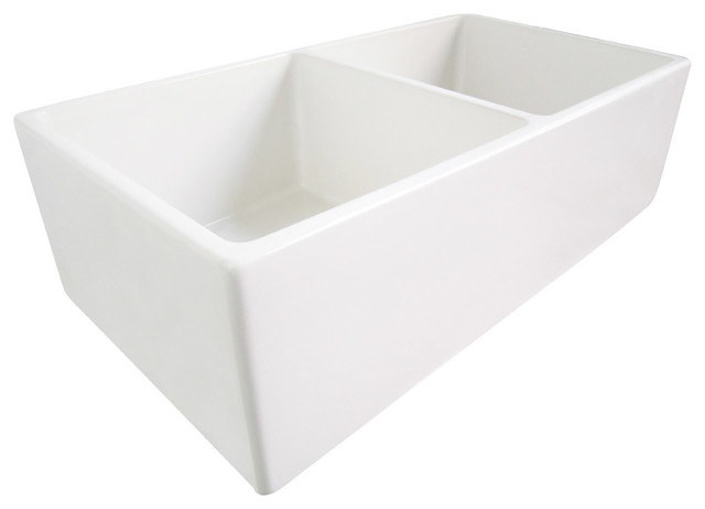 White Double Bowl Farmhouse Sink : White 33