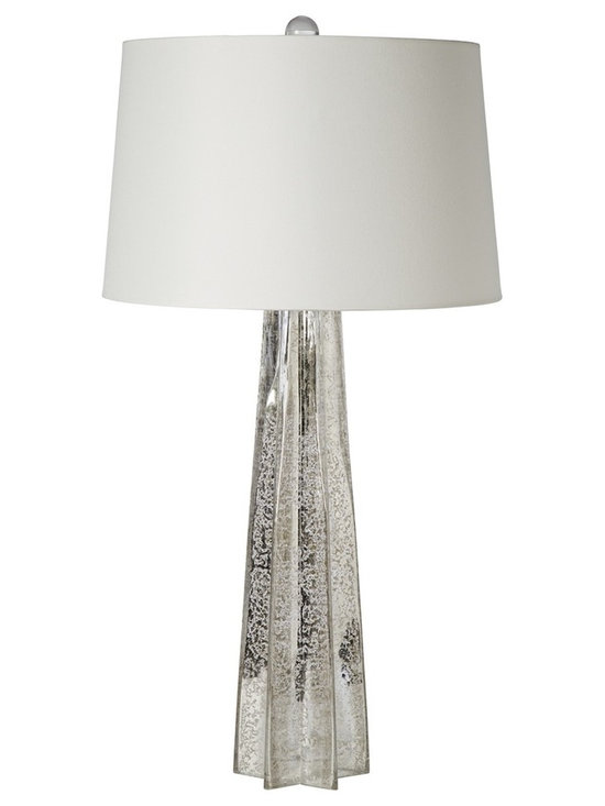"""Regina Andrew - Regina-Andrew Antique Mercury Glass Star Column Table Lamp - Add height and style to any space with this gorgeous mercury glass table lamp. Topped with a natural linen lamp shade. From Regina-Andrew. Column table lamp. Mercury glass construction. Star base design. Maximum 150 watt or equivalent bulb (not included). 3-way switch. Shade measures 14"""" across the top 16"""" across the bottom 10"""" high. 16"""" wide. 31"""" high.  Column table lamp.  Mercury glass construction.  Star base design.  Maximum 150 watt or equivalent bulb (not included).  3-way switch.  Shade measures 14"""" across the top 16"""" across the bottom 10"""" high.  16"""" wide.  31"""" high."""