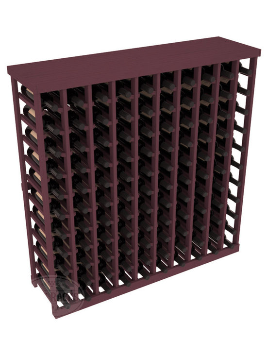 Wine Racks America® - Commercial Wine Rack RetailEDGE™ Standard Base with Solid Top, Burgundy Stain - The Standard Base with the solid top option holds up to 110 bottles. These racks are made to secure and safely store each bottle while providing adequate breathing room. With this solid Ponderosa pine top option, 13 beautiful stain & finish combination choices, these racks will be sure to shine in your wine retail setting. The solid top increases storage space for holding more bottles, cases, or sale advertisements. Additional tops are also available and can be interchanged with ease. Increase your bottom line today with RetailEDGE Series ™.