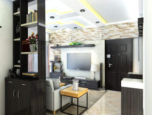 Dual purpose partition in living interiors for Purpose of a living room