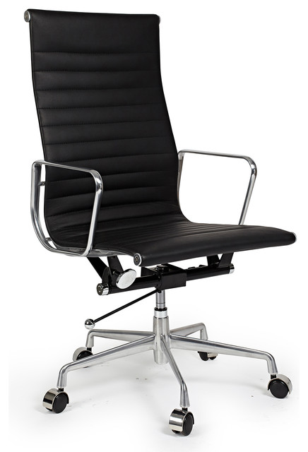 Kardiel Classic 1958 Lider Ribbed High Back Aluminum Office Chair, Black Leather modern-office-chairs