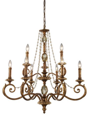 Nine Light Spanish Bronze Chandelier Contemporary Chandeliers By Lowes