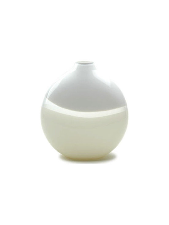 Caleb Siemon Round Vase - Named after the Italian technique of lattimo or milk glass, these pieces focus on their forms rather than their color. Available in multiple sizes and a selection of refined silhouettes. Hand blown and shaped in lead free crystal. Designed by Caleb Siemon. Made in California. Signed.