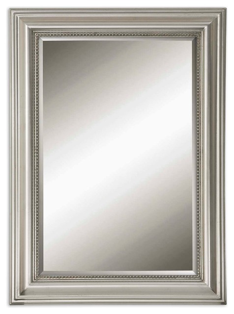 Stuart Silver Beaded Mirror Traditional Wall Mirrors