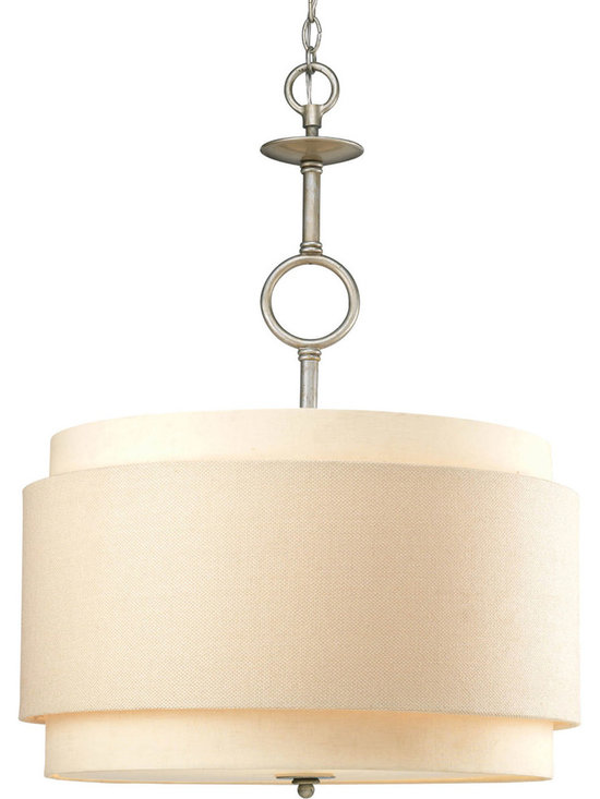Progress Lighting, Ashbury, Three Light, Hall & Foyer - Three-light pendant with a unique double drum shade in thistle weave and toasted linen fabric.