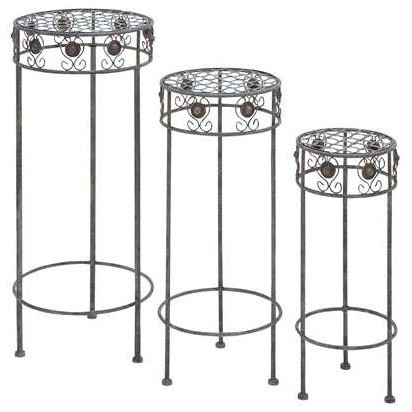 Metal Plant Stand With Silver Metal Polish Set Of 3