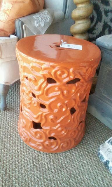 Orange Ceramic Garden Seat / Table mediterranean-outdoor-stools-and-benches