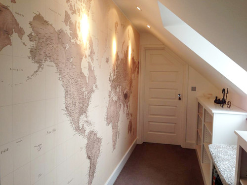 World map wallpaper mural world map mural in attic room gumiabroncs