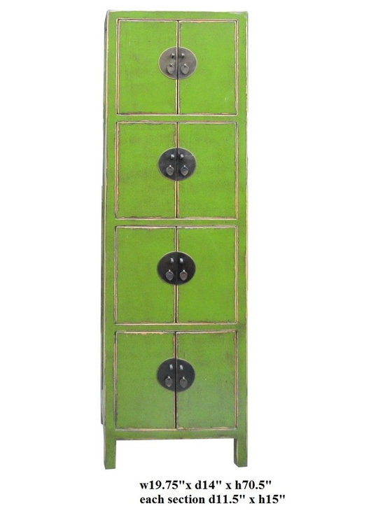 Chinese Lime Green Rustic Lacquer Tall Narrow Cabinet - This is a tall narrow storage free standing cabinet with four sections. It has straight forward design and modern color finish. The oriental moonface hardware enriches the accent.