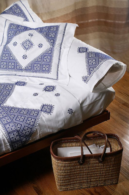 Luxury Embroidered Bed Linens mediterranean sheet sets
