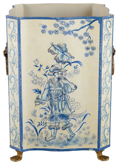 Ivory and Blue Toile Painted Bin asian-wastebaskets