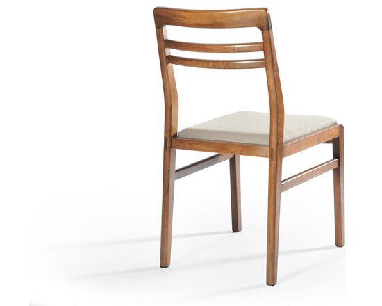 Gingko Home Furnishings - Lewis Dining Chair, Medium Walnut Beige Seat - Mid-century modern inspired styling