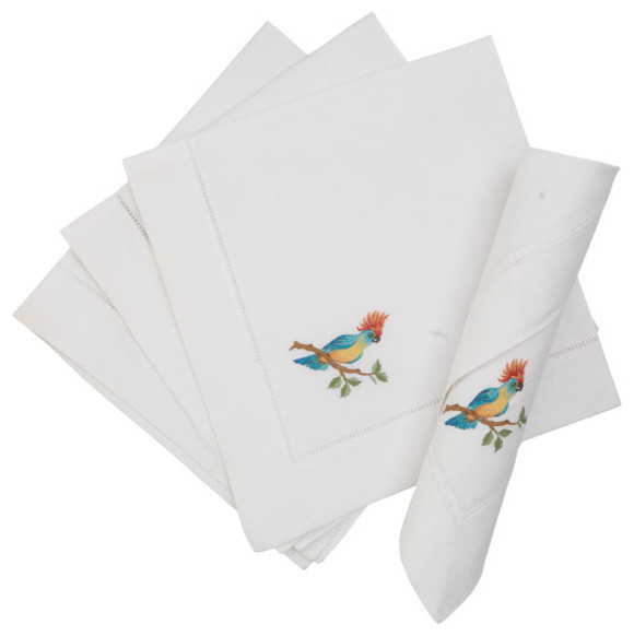 Colorful Parrot Napkins traditional-napkins