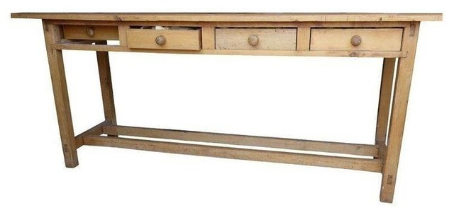 Pre owned antique pine sofa table with four drawers rustic console tables by chairish - Pine sofa table with drawers ...