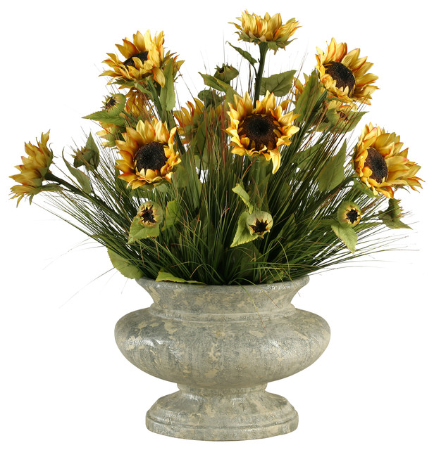 D w silks sunflowers with mixed grasses in oval pedestal