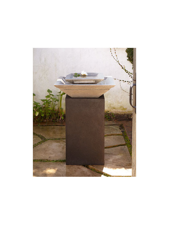 Horchow - Modern Fountain - Exclusively ours. Sized perfectly for smaller spaces, this angular, modern fountain adds a contemporary vibe and the soothing sounds of flowing water to a favorite retreat. Handcrafted of crushed stone/polyester resin/styrene/fiberglass. Hand-painte...