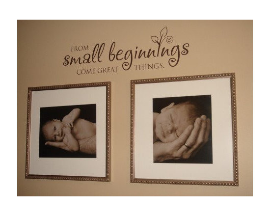 "Baby Nursery - Uppercase Living exclusive expression: ""From small beginnings come great things"" Available in 3 sizes. (24"" x 7.25"" $24.95) Direct link: http://jeand.uppercaseliving.net/DesignItems.m?DesignId=855&MenuLinkKey=products&CategoryId=42"