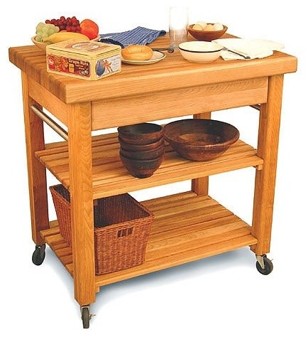 French Country Kitchen Cart with Butcher Block Top - Modern - Kitchen Islands And Kitchen Carts